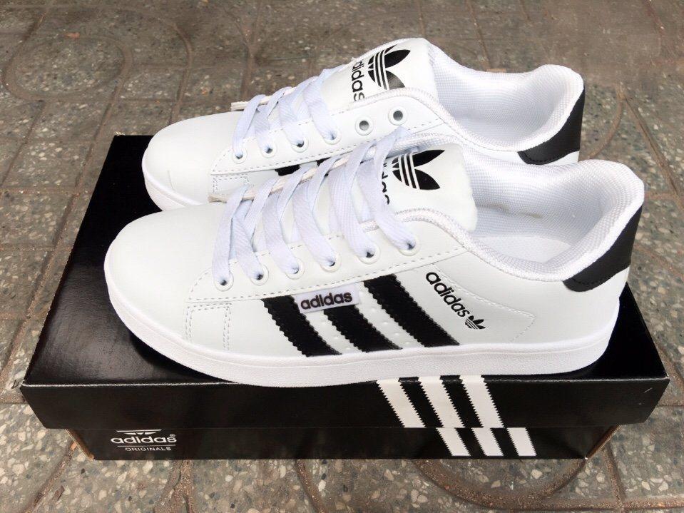 Giày Adidas Super Star trắng trơn 2